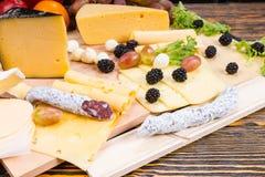 Tablero gastrónomo del queso con la carne y la fruta curadas Fotos de archivo