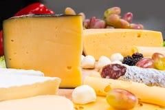 Tablero gastrónomo del queso con la carne y la fruta curadas Imagenes de archivo