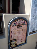 Tablero italiano del menú del pasticceria del caffe Imagenes de archivo