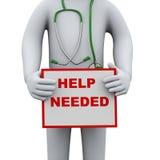 tablero necesario de la muestra de la ayuda de la tenencia del doctor 3d Foto de archivo libre de regalías