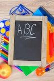 Tablero negro con ABC Foto de archivo libre de regalías