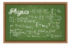 Tablero negro de la escuela con fórmulas de la física Imagenes de archivo