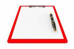 Tablero plástico rojo con la pluma Imagen de archivo
