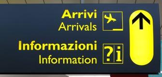 Tablero terminal italiano de la información Imagen de archivo libre de regalías