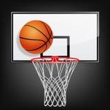Tablero trasero y bola de baloncesto Imagen de archivo libre de regalías