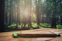 Tablero vacío de la cocina en la tabla de madera en fondo del bosque Imagen de archivo libre de regalías