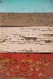 Tableros de madera pintados horizontales Vieja peladura coloreada del ` s de la pintura foto de archivo libre de regalías