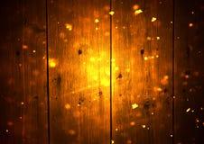 Tableros de madera y luces del bokeh del brillo con nieve Fotografía de archivo libre de regalías