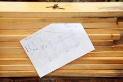Tableros de madera y proyecto Imagen de archivo