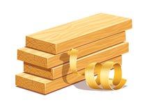 Tableros de madera y sawdusts raspados de las limaduras Imagen de archivo