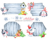 Tableros de mensajes de la Navidad con las ramas del abeto, los juguetes, el perrito lindo y los pájaros stock de ilustración
