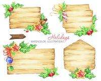 Tableros de mensajes de la Navidad con las ramas y los juguetes del abeto ilustración del vector
