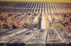 Tableros rústicos de madera delante del fondo del viñedo en otoño aliste para la exhibición del producto Imagen de archivo