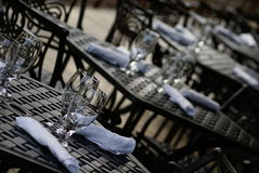 Tables. Outdoor settings in one of restaurants Royalty Free Stock Photo
