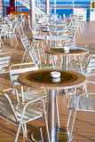 Tables with ashtrays in outdoor bar Royalty Free Stock Photo