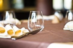 Tables at the restaurant. Tables backgrounds set in the restaurant waiting for customers Royalty Free Stock Images