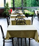 Tables at the restaurant. Tables backgrounds set in the restaurant waiting for customers Stock Images