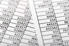 Tables, balance calculation Royalty Free Stock Image