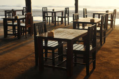 Tables on the beach Royalty Free Stock Images