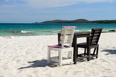 Tables on a beach Royalty Free Stock Image