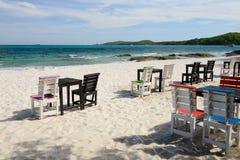 Tables on a beach Stock Photos