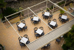 Tables in the cafe, view from above Stock Photography