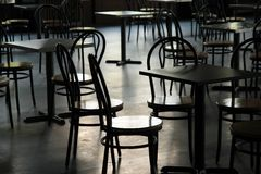 Tables in a cafeteria Stock Images