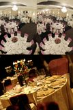 Tables seen from above, ready for wedding, collage, grid 2x2, screen split in four parts stock photography