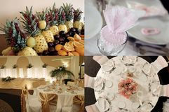 Tables seen from above, ready for wedding, multicam, grid 2x2, screen split in four parts royalty free stock images