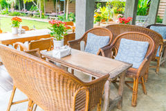 Tables and Chair in outdoor cafe restaurant . Royalty Free Stock Image