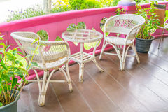 Tables and Chair in outdoor cafe restaurant . Stock Photo