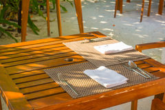 Tables and Chair in outdoor cafe restaurant . Stock Images