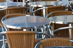 Tables and chairs. In the alfresco cafe Royalty Free Stock Photos