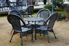 Tables and chairs. In the garden at afternoon.It's a very beautiful view Royalty Free Stock Photo