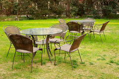 Tables and chairs. In the garden at afternoon.It's a very beautiful view Royalty Free Stock Images