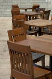Tables and chairs. In empty cafe Stock Photos