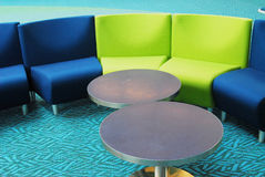 Tables and chairs. Colorful tables and chairs in vancouver airport waiting area Royalty Free Stock Photos