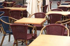 Tables and chairs in cafe Royalty Free Stock Images
