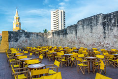 Tables and Chairs in Cartagena Royalty Free Stock Photos