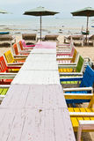Tables, chairs, colorful seaside Royalty Free Stock Photo