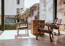 Tables and chairs in  garden. Still light Royalty Free Stock Image