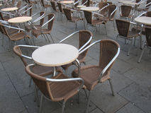 Tables and chairs outdoors Royalty Free Stock Photo