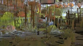 Tables and chairs ready for celebration stock footage