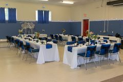 Tables And Chairs Ready For Wedding Reception stock image