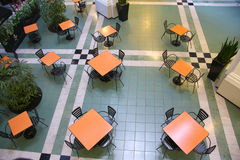Empty food court in the shopping mall. It is  rest place and food court in the shopping mall Royalty Free Stock Images