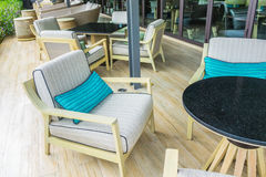 Tables and chairs in restaurant . Royalty Free Stock Photo