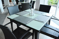 Tables and chairs in restaurant. Royalty Free Stock Images
