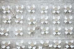 Tables and chairs seen from above royalty free stock photos