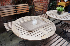 Tables and chairs of small cafe. Royalty Free Stock Photo