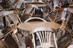Tables and chairs stacked chaotically_01 Stock Photography